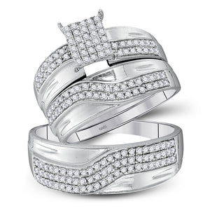 10kt White Gold His Hers Round Diamond Cluster Matching Wedding Set 3/4 Cttw