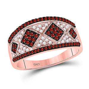 10kt Rose Gold Womens Round Red Color Enhanced Diamond Striped Cluster Band Ring 1/2 Cttw