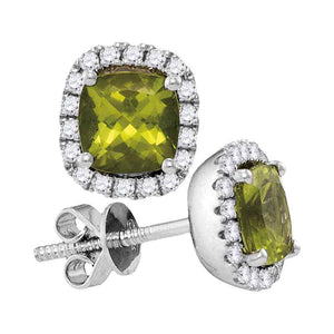 14kt White Gold Womens Princess Peridot Solitaire Diamond Frame Earrings 1 Cttw