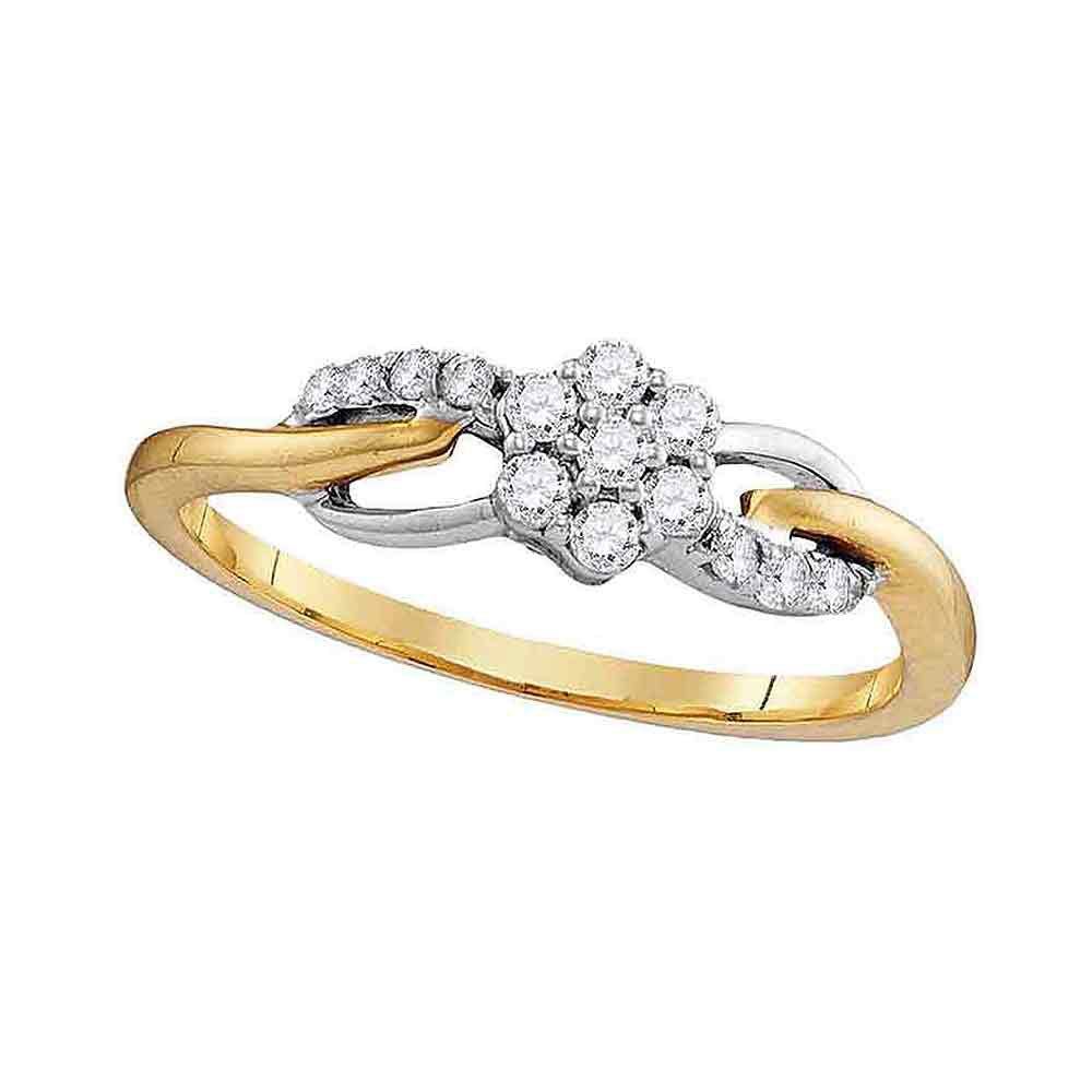 10kt Yellow Gold Womens Round Diamond Flower Cluster Infinity Ring 1/4 Cttw