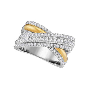 14kt Two-tone White Yellow Gold Womens Round Diamond Crossover Fashion Band Ring 1.00 Cttw