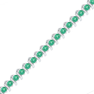 Sterling Silver Womens Round Lab-Created Emerald Tennis Bracelet 6-1/2 Cttw