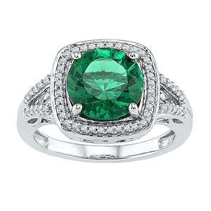 Sterling Silver Womens Round Lab-Created Emerald Solitaire Diamond Ring 4 Cttw