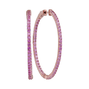 14kt Rose Gold Womens Round Pink Sapphire Slender Inside Outside Hoop Earrings 3-3/4 Cttw
