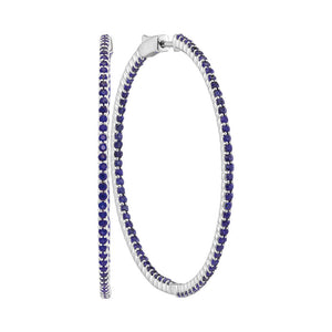 14kt White Gold Womens Round Blue Sapphire Slender Hoop Earrings 4-1/3 Cttw