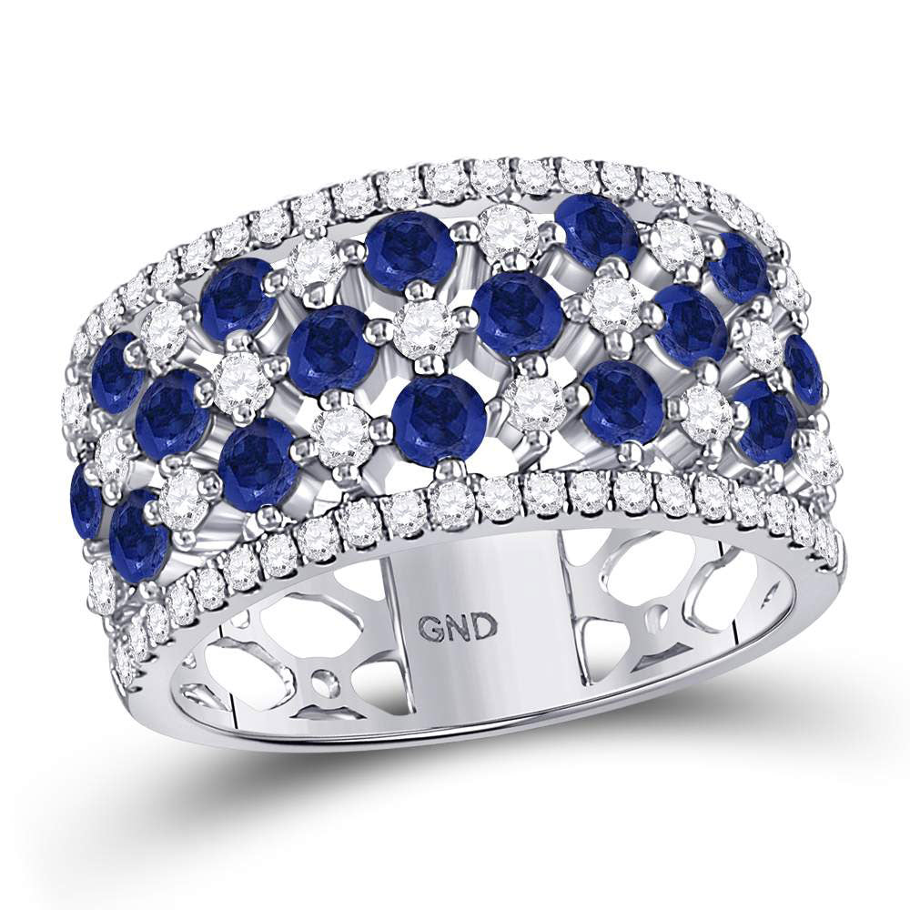 18kt White Gold Womens Round Blue Sapphire Diamond Checkered Band Ring 2 Cttw
