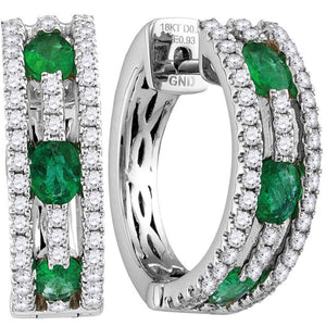 18kt White Gold Womens Oval Emerald Diamond Hoop Earrings 1-1/2 Cttw