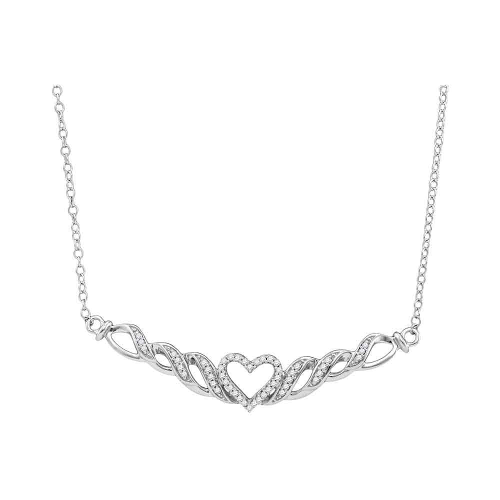 10kt White Gold Womens Round Diamond Heart Necklace 1/8 Cttw