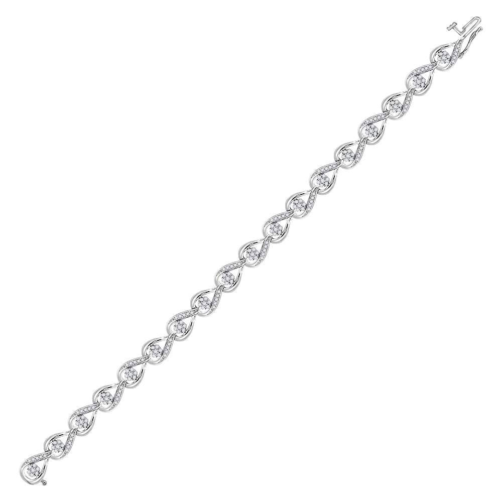 10kt White Gold Womens Round Diamond Teardrop Cluster Fashion Bracelet 1-1/5 Cttw