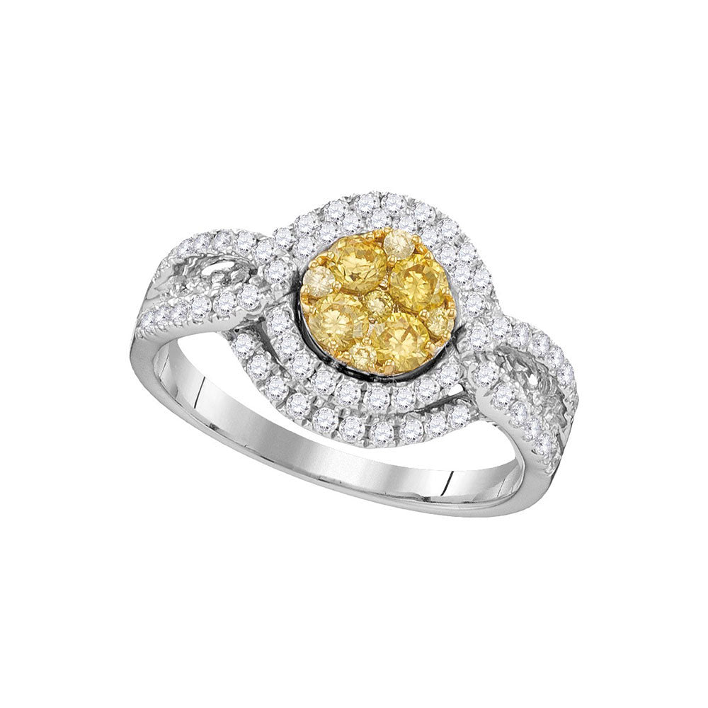 14kt White Gold Round Yellow Diamond Cluster Bridal Wedding Engagement Ring 1 Cttw