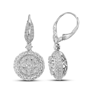 14kt White Gold Womens Round Diamond Circle Cluster Dangle Earrings 2 Cttw