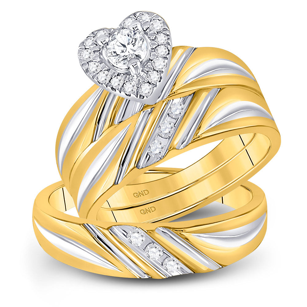 10kt Yellow Gold His Hers Round Diamond Heart Matching Wedding Set 3/8 Cttw