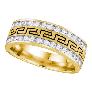 14kt Yellow Gold Mens Round Diamond Double Row Grecco Greek Key Wedding Band 1 Cttw