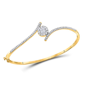 14kt Yellow Gold Womens Princess Diamond Bypass Bangle Bracelet 3/4 Cttw