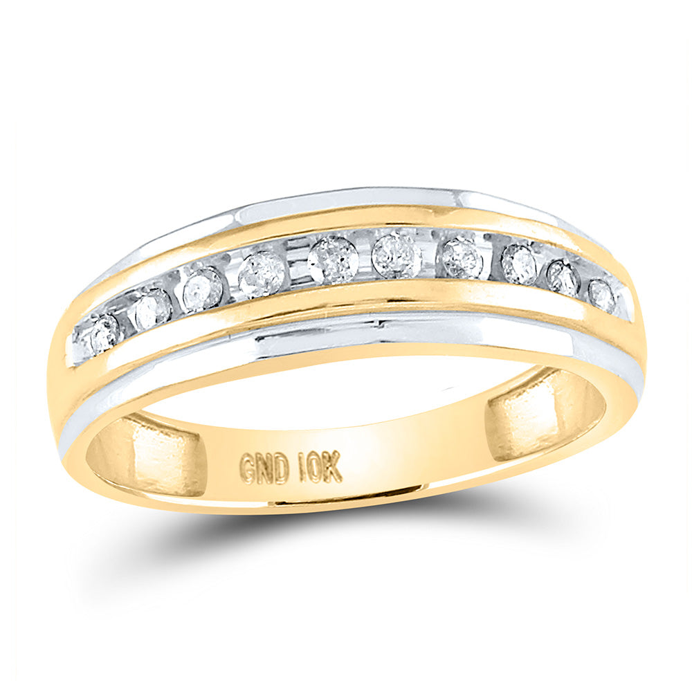 10kt Two-tone Gold Mens Round Diamond Wedding Channel Set Band Ring 1/4 Cttw