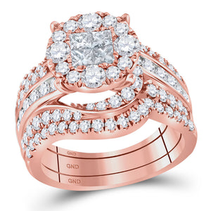 14kt Rose Gold Princess Round Diamond Bridal Wedding Ring Band Set 2-1/2 Cttw