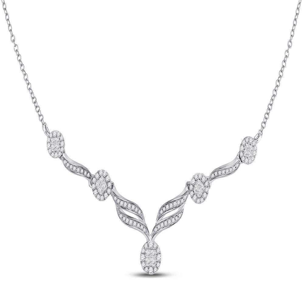 14kt White Gold Womens Princess Diamond Cocktail Cluster Necklace 1.00 Cttw