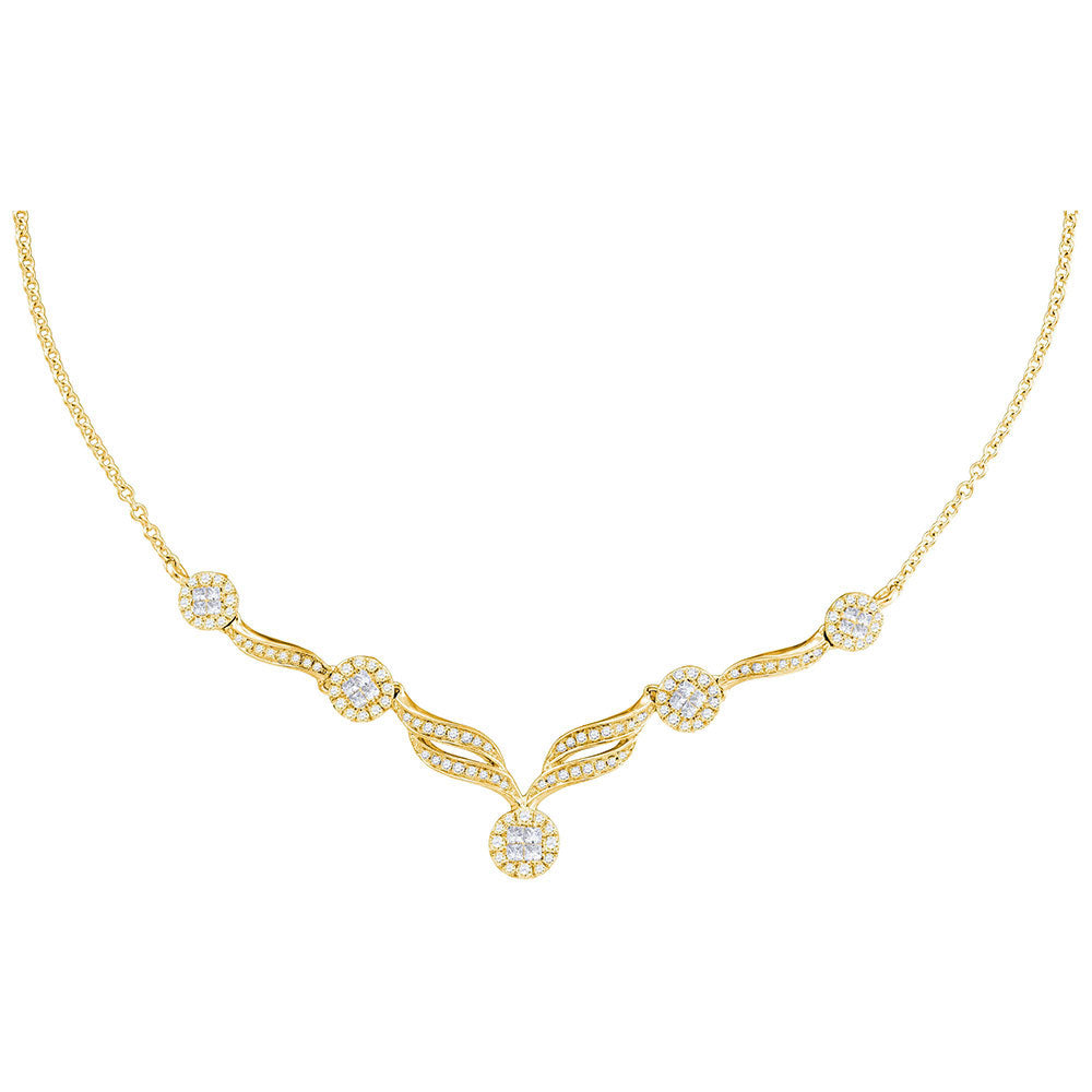 "14kt Yellow Gold Womens Princess Diamond Cluster Luxury 18"" Necklace 1.00 Cttw"