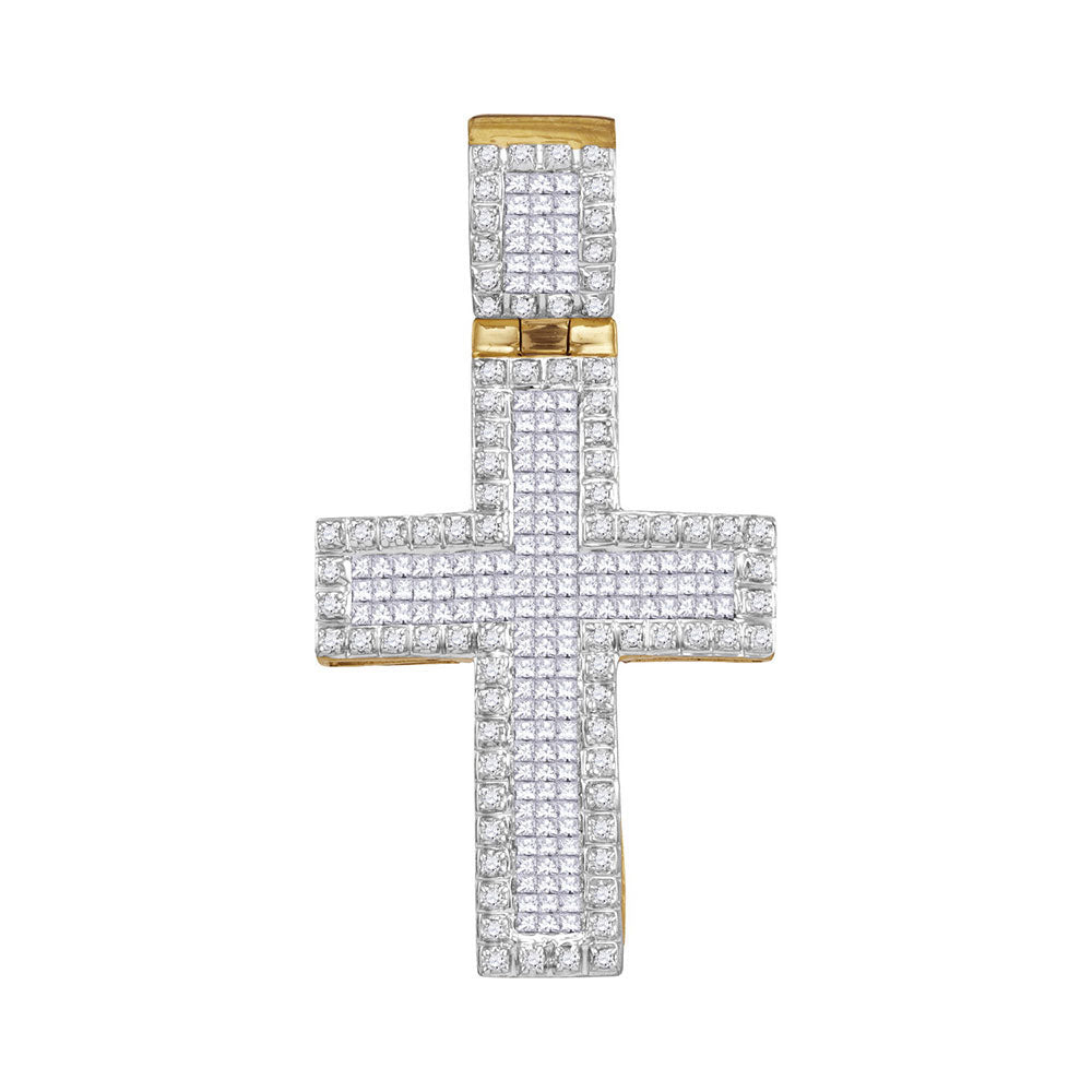 10kt Yellow Gold Mens Round Diamond Cross Charm Pendant 1.00 Cttw