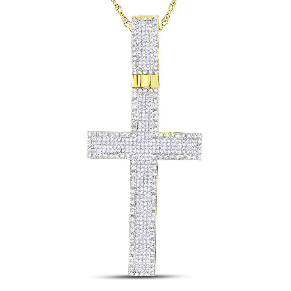 10kt Yellow Gold Mens Princess Diamond Cross Charm Pendant 2-1/2 Cttw
