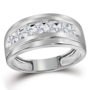 10kt White Gold Mens Round Diamond Wedding Channel-Set Band Ring 1.00 Cttw