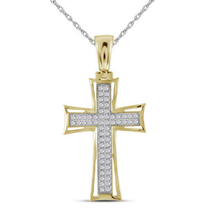 10kt Yellow Gold Mens Round Diamond Gothic Cross Charm Pendant 1/6 Cttw
