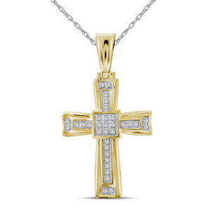 10kt Yellow Gold Mens Round Diamond Cross Charm Pendant 1/10 Cttw