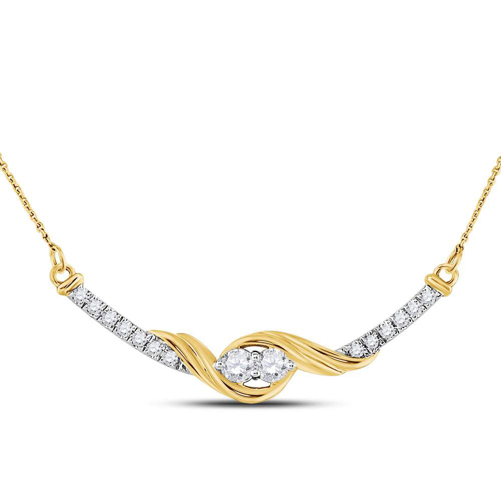 14kt Yellow Gold Womens Round Diamond Bar 2-stone Necklace 1/3 Cttw