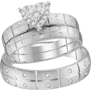 14kt White Gold His Hers Round Diamond Heart Matching Wedding Set 1/4 Cttw