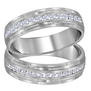 14kt White Gold His Hers Round Diamond Band Matching Wedding Band Set 1/3 Cttw