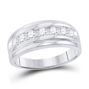 10kt White Gold Mens Round Diamond Wedding Channel-Set Band Ring 7/8 Cttw