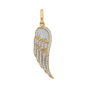 10kt Yellow Gold Mens Round Diamond Feather Wing Charm Pendant 1/3 Cttw