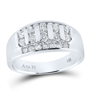 14kt White Gold Mens Round Diamond Wedding Channel Set Band Ring 1.00 Cttw