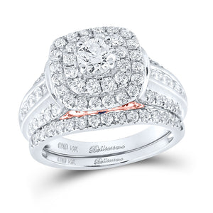 14kt White Gold Round Diamond Halo Bridal Wedding Ring Band Set 2 Cttw