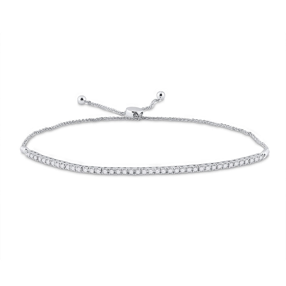 10kt White Gold Womens Round Diamond Single Row Bolo Bracelet 1.00 Cttw
