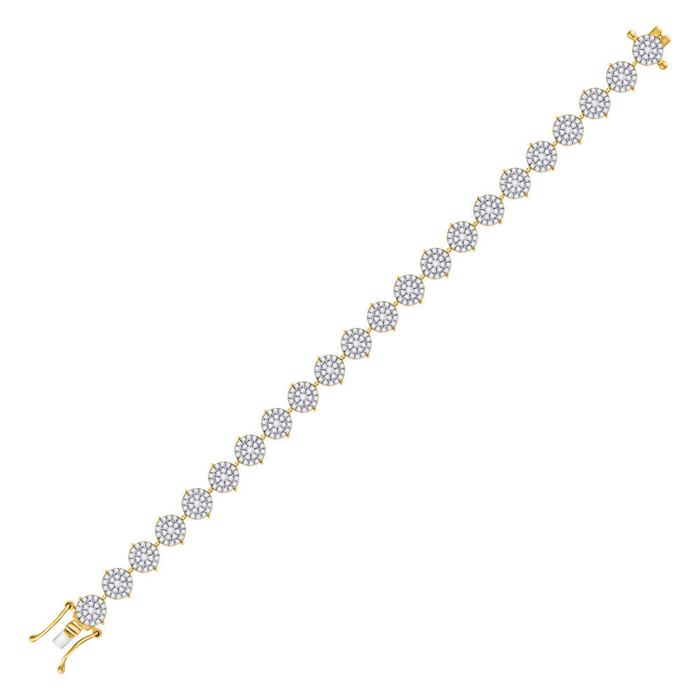 10kt Yellow Gold Womens Round Diamond Cluster Tennis Bracelet 3.00 Cttw