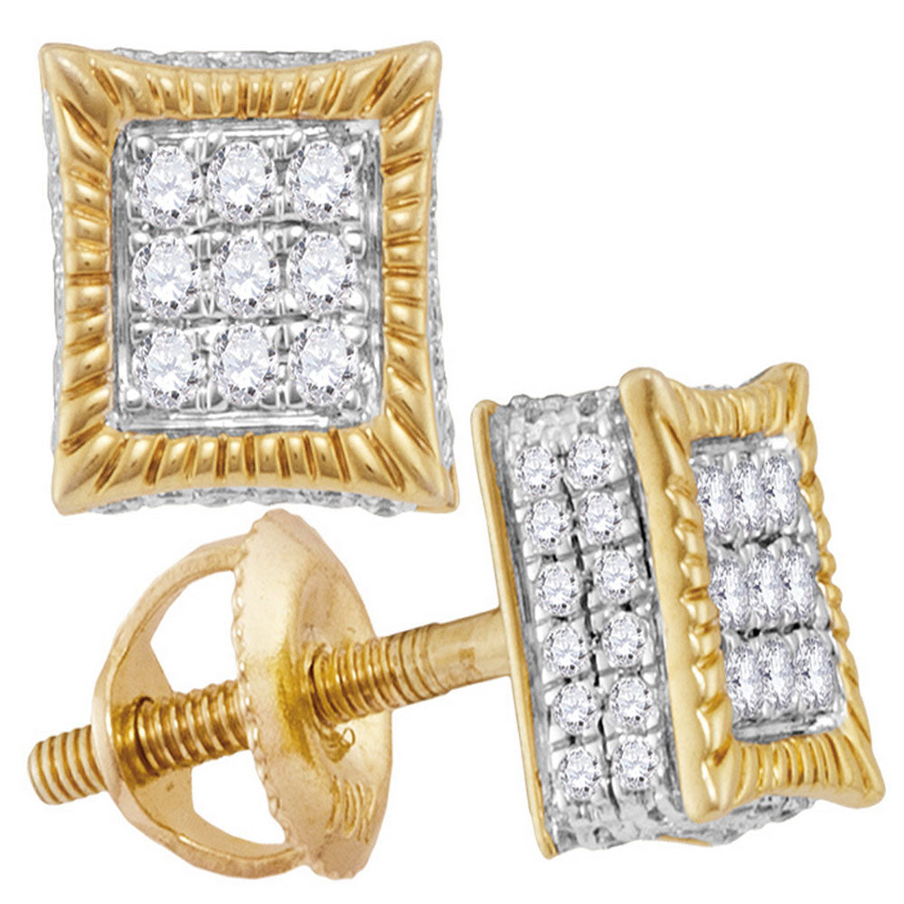 10kt Yellow Gold Mens Round Diamond Square Fluted 3D Cluster Stud Earrings 1/3 Cttw