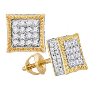 10kt Yellow Gold Mens Round Diamond Square Fluted Cluster Stud Earrings 3/4 Cttw