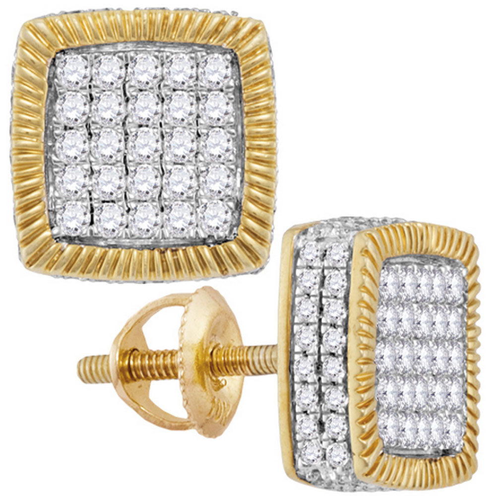 10kt Yellow Gold Mens Round Diamond Square Fluted Cluster Earrings 7/8 Cttw