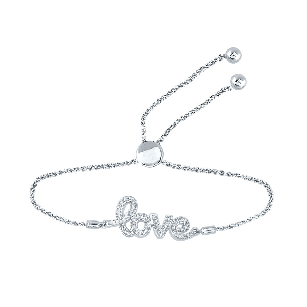 Sterling Silver Womens Round Diamond Love Word Bolo Adjustable Bracelet Cttw