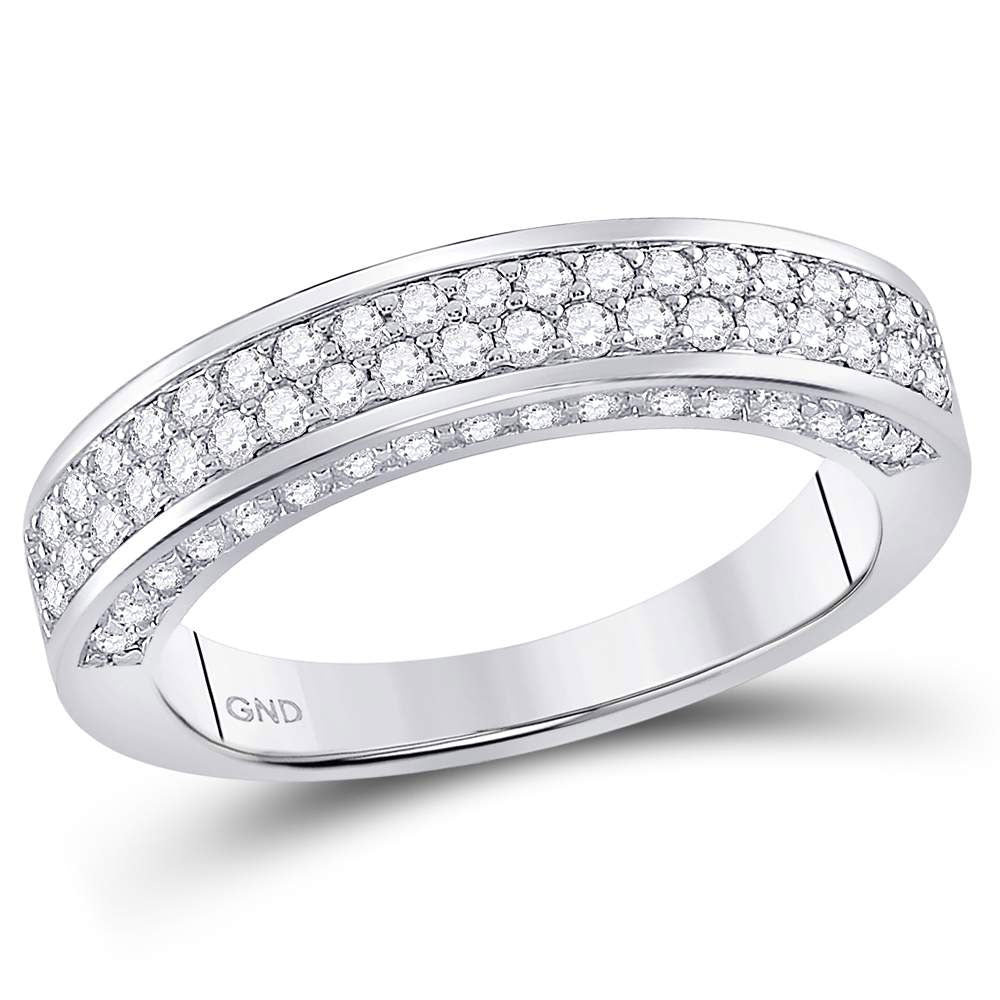 14kt White Gold Womens Round Diamond 2-Row Wedding Band 1 Cttw