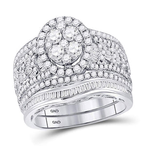 14kt White Gold Round Diamond Oval Bridal Wedding Ring Band Set 2 Cttw
