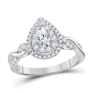 14kt White Gold Womens Pear Diamond Solitaire Bridal Wedding Engagement Ring 1.00 Cttw