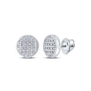 10kt White Gold Mens Round Diamond Circle Cluster Stud Earrings 1/12 Cttw