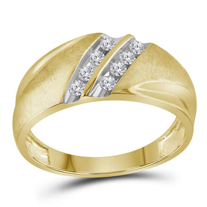 10kt Yellow Gold Mens Round Diamond Wedding Double Row Band Ring 1/4 Cttw