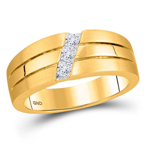 14kt Yellow Gold Mens Princess Diamond 3-stone Wedding Ring Band 1/3 Cttw