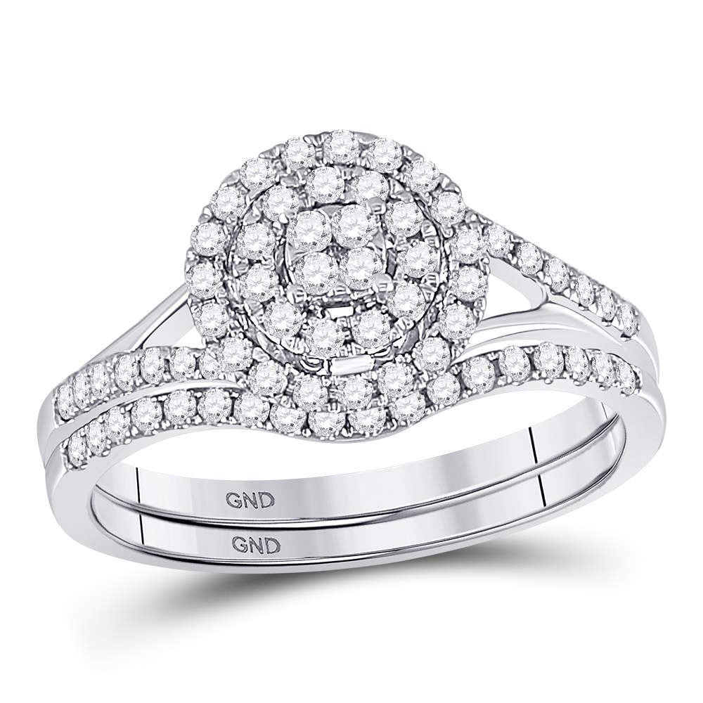 14kt White Gold Womens Round Diamond Cluster Bridal Wedding Engagement Ring Band Set 1/2 Cttw