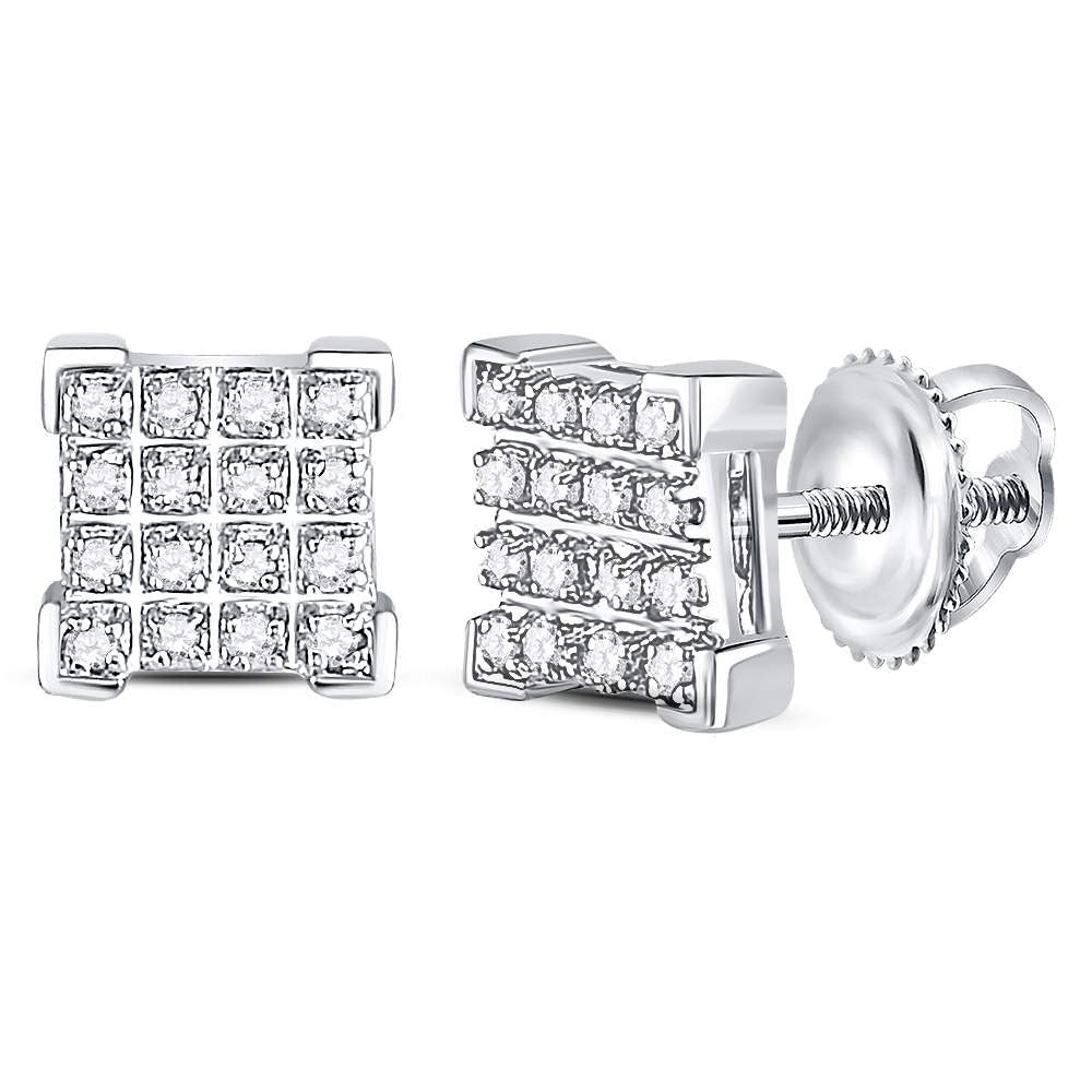 10kt White Gold Mens Round Diamond Square Cluster Earrings 1/10 Cttw