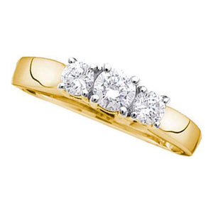 14kt Yellow Gold Womens Round Diamond 3-stone Bridal Wedding Engagement Ring 1-1/2 Cttw