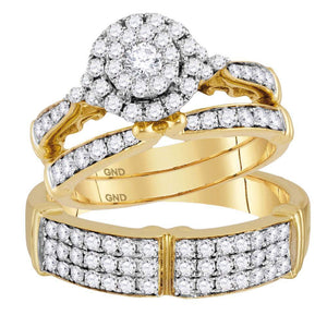 14kt Yellow Gold His Hers Round Diamond Solitaire Matching Wedding Set 1-1/2 Cttw